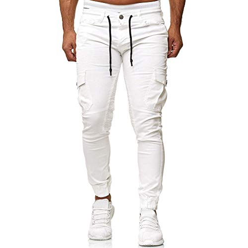 ANJUNIE Men's Joggers Slim Fit Cotton Running Pants Sports Pure Color Trousers Woven Stitching Feet Pants with Pocket(White,XL)