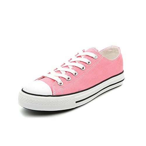 (Women Classic Canvas Shoes Casual Low Top Lace Up Fashion Comfortable Walking Sneakers (10, Pink))