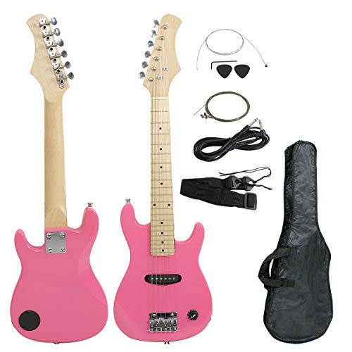 Smartxchoices 30″ Mini Kids Electric Guitar Pink Bass Guitar Bundle Kit with Gig Bag,Cable,Strap,Picks for Beginners Young Children Combo Accessories Holiday Gift (Pink, No Amp)