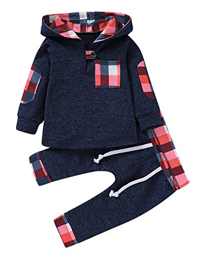 - Infant Toddler Boys Girls Sweatshirt Set Winter Fall Clothes Outfit 0-3 Years Old,Baby Plaid Hooded Tops Pants (Blue, 0-6 Months)