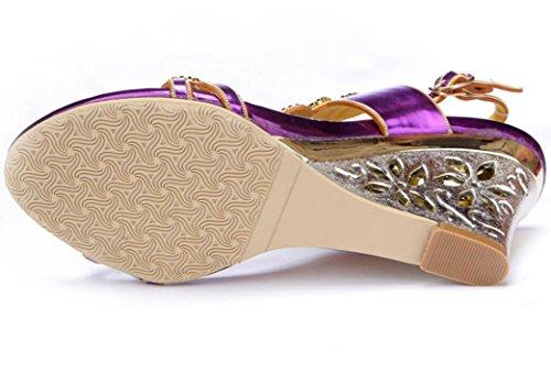 Púrpura 39 Señoras Rhinestones Purplewedgeheel Heel Insertar De Verano Diariamente 33 Diamante Alto Sandalias Las 8 Personalidad Tacón Banquete wedge Cm Lujo Xie Purple qFt6B6