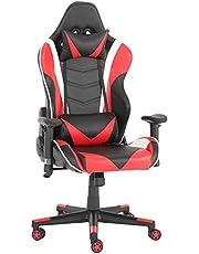 Futurefurniture® Gamingstoel, gaming stoel, gaming stoel, met hoofdsteun en lendenkussen, kleur: rood