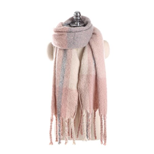 Sothread Women Winter Cashmere Scarf Pashmina Blue Patchwork Tassel Shawl Wrap 43x180cm (C)