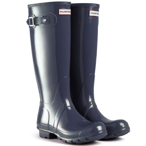 Hunter Original Tall Gloss Damen Fest Gummistiefel Wellington Boots - Blau - 37