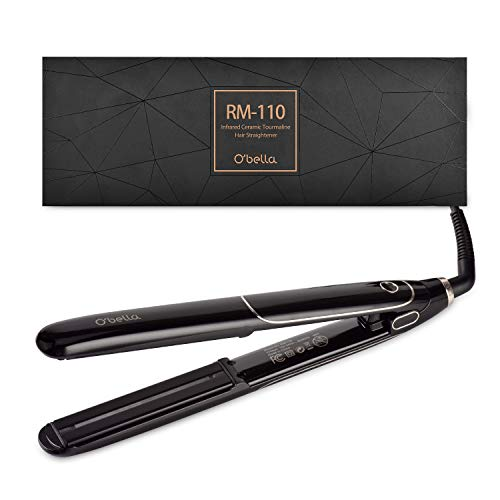 O Bella Hair Straighteners Dual Voltage,with Digital LCD Display, 30 s heat up to 230 , Heat resistant gloves