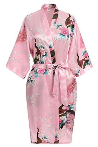 USDisc't Elegant Women's Kimono Robe for Parties Bridal and Bridesmaid Short (M, Pink)