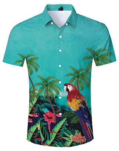 Palm Tree Resort - Loveternal Mens Hawaiian Bird Shirts Funny Red Parrots Turquoise Aloha Beach Shirts Short Sleeve Casual Bird Shirts Palm Trees Resort Wear XL