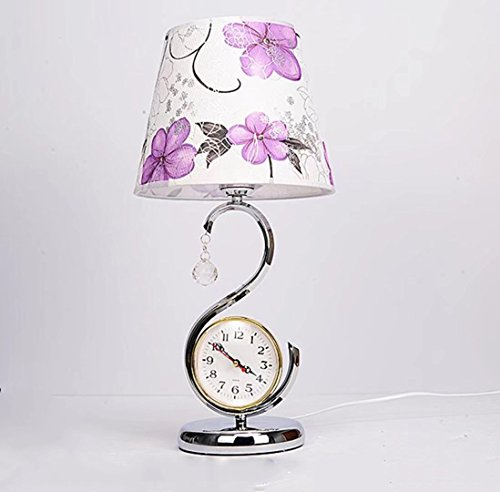 Desk Lamp with A Watch Modern Minimalist Button Switch E27 European Bedroom Bedside Metal Acrylic Table Lamp