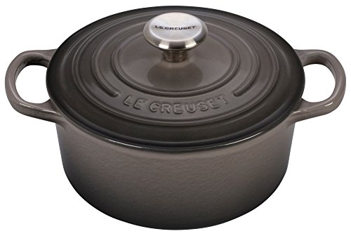 le creuset signature enameled cast iron 2 quart round french dutch oven oyster old school. Black Bedroom Furniture Sets. Home Design Ideas