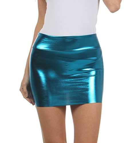 Sakkas 6924 Women's Shiny Metallic Liquid Mini Skirt - Turquoise - ()