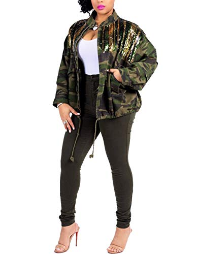 Salimdy Women Sequins Patchwork Bomber Jacket Camouflage Prints Drawstring Slim Coat Outfit M