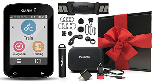 Garmin Edge 820 Cycle Bundle GIFT BOX with Garmin Chest Strap HRM, Cadence & Speed Sensors, PlayBetter Portable USB Charger & Hard Carrying Case, Bike Mounts, USB Cable | Gift Box | GPS Bike Computer by PlayBetter