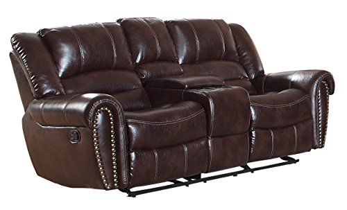 "Homelegance Center Hill 83"" Double Glider Reclining Loveseat With Console, Dark Brown Leather Gel Match"