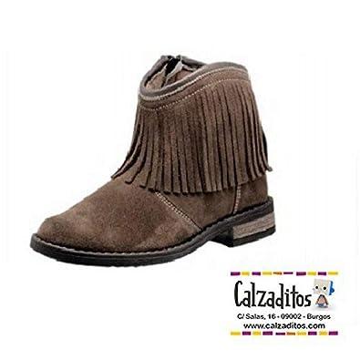Andanines Botines para niña o mujer en piel serraje de color castoro con flecos, Marrón, 30: Amazon.es: Zapatos y complementos