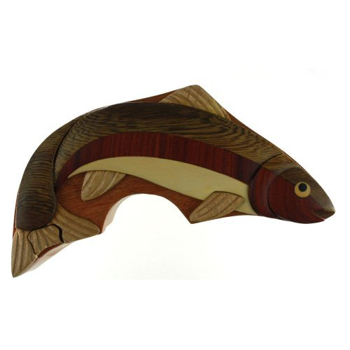 Rainbow Trout - Wood Puzzle Box - Handcrafted with Hidden...