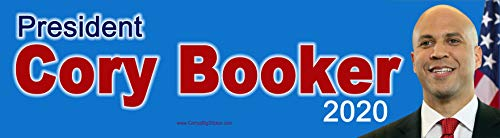 President Cory Booker 2020 Bumper Sticker with Blue Background