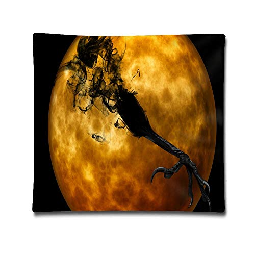 Jidmerrnm Halloween Night Creepy Darkness Crow Claw Cotton Linen Throw Pillow Cover Shell for Couch Sofa Home Decoration 18 X 18 Inches -