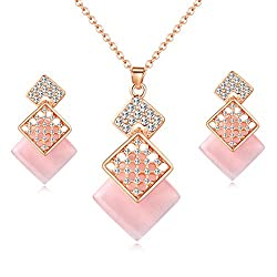 Crystal Rose Gold Plated Necklace and Earrings