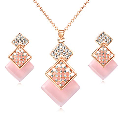 - OUFO Jewelry Sets for Women Crystal Rose Gold Plated Necklace and Earrings Square Pink Pendant Wedding Costume Dressy Necklaces Set