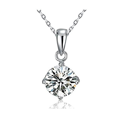 Sterling Silver Pendant Necklace Platinum-Plated with 1.88 Carats Cubic Zirconia for Women & Girls