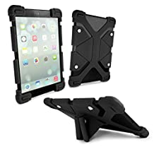 """E-Volve Rugged Universal Silicone Tablet case & Stand for 8.9""""-12"""" inch tablets inc (iPad Air / Pro / Samsung Galaxy Tab E 9.6 / A 9.7 / Tab A 10.1 T580 P580 / Tab S / Tab 3 & 4) - Black"""