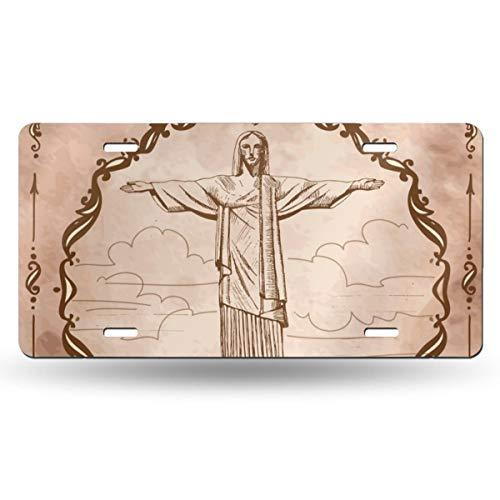 Statue Of Jesus Christ In Rio De Janeiro US License Plate Tag From 50 States In The United States,Customized Unique Printed License Plate,Suitable For All Cars,Used For Room Decoration,Bar Decoration (Name Of The Statue In Rio De Janeiro)