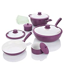 Lorena Garcia 10-piece Lightweight Designer Ceramic Nonstick Cookset (PERFECT PURPLE)