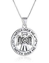 """Sterling Silver""""Watch Over Me"""" Angel Pendant Necklace, 18"""""""
