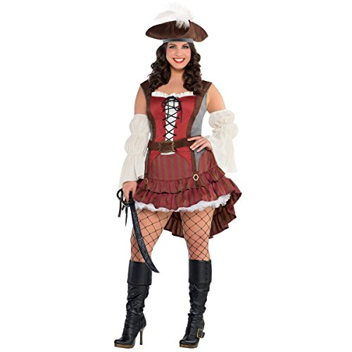Amscan 845000 Castaway Pirate Costume - Plus 2XL (18-20), Adult Plus, Black ()