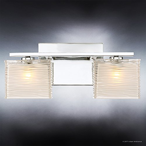 Luxury Modern Bathroom Light, Medium Size: 6.75''H x 15''W, with Style Elements, Polished Chrome Finish and Sandblasted Inner, Clear Wavy Outer Glass, G9 LED Technology, UQL2721 by Urban Ambiance by Urban Ambiance (Image #3)