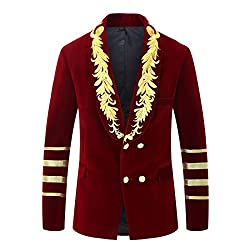 Men's Military Style Embroidery Velvet Blazer