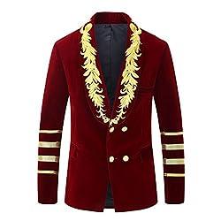 Men's Military Style Embroidery Velvet Blazer