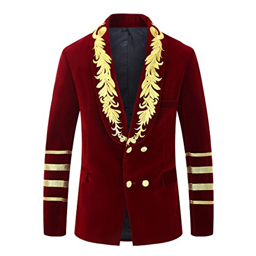 PYJTRL Mens Military Style Embroidery Velvet Blazer Suit Jacket (Wine red, Tag L/US 38R)