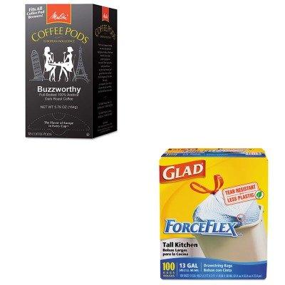 kitcox70427mla75412-value-kit-melitta-coffee-pods-mla75412-and-glad-forceflex-tall-kitchen-drawstrin