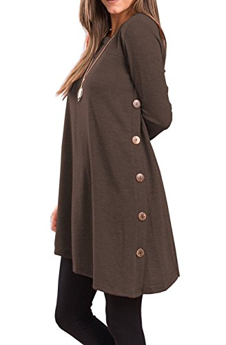 Fantastic Zone Women's Long Sleeve Casual Loose Scoop Neck Button Side Sweater Tunic (Brown Juniors Dress)