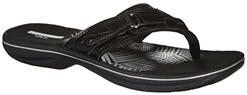 Clarks Women's Breeze Sea Platform, Black Synthetic Patent, 8 Medium US (Sandal Thong Patent)