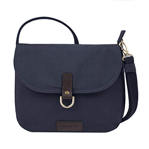 Travelon Anti-Theft Courier Saddle Crossbody Cross Body Bag, Navy, One Size