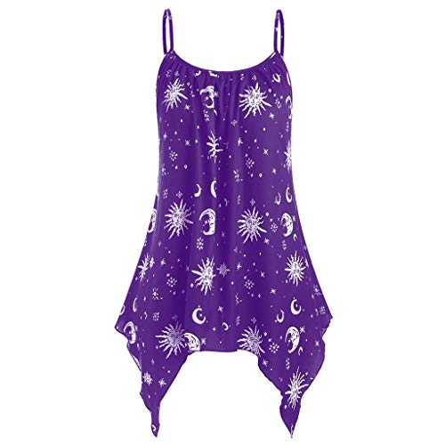 QueenMM Casual Graphic Blouse for Women, Women Spaghetti Straps High Low Loose Tank Sun and Moon T-Shirt for Women Purple