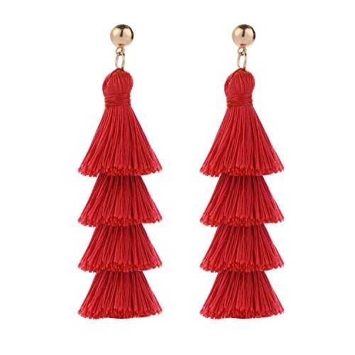 Nordstrom Ring White - BaubleStar Fashion Gold Tassel Dangle Earrings Layered Long Bonita Tiered Red Thread Tassel Drop Statement Jewelry for Women Girls