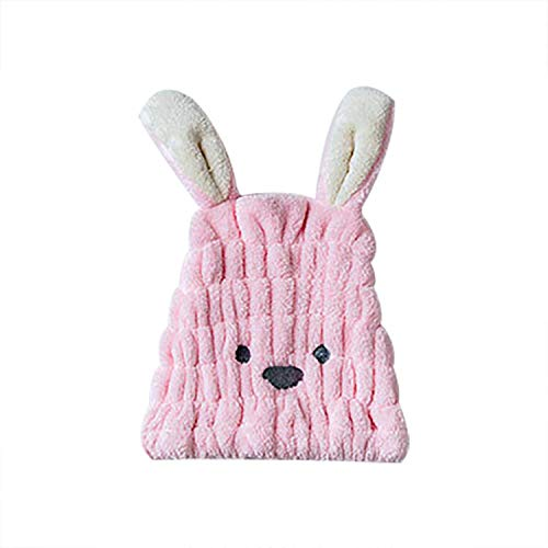 MZjJPN Cartoon Rabbit shape shower cap Coral fleece Hair Turban Quickly Dry Hair Hat Wrapped Towel Bathing shower cap bathroom cap #F,Pink -