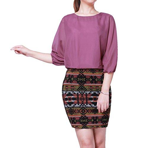 Elliscold Women's Elegant Vintage Pattern Print Half Sleeve One-Piece Slim Fit Office Mini Sheath Dress Purple M by Elliscold