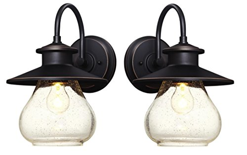 Dysmio Lighting Delmont One-Light Outdoor Wall Fixture with with Clear Seeded Glass, Oil Rubbed Bronze (Set of 2)