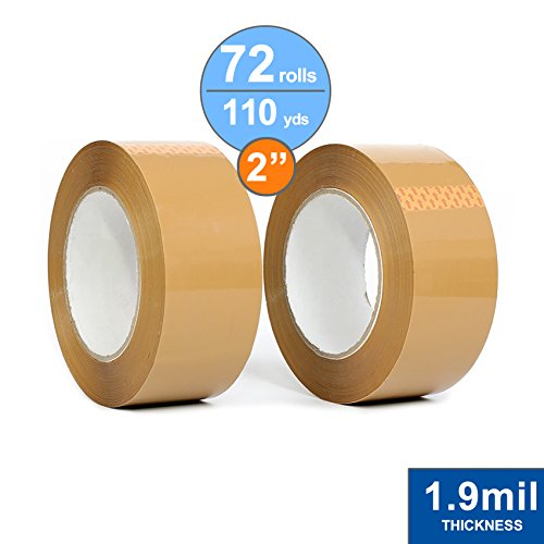 72 Rolls Package Tape 2'' X 110 Yards/Carton Sealing Tape/1.9mil Thick/Tan Acrylic by Impackt