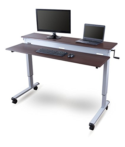 Stand Up Desk Store Crank Adjustable Sit to Stand Up Computer Desk – Heavy Duty Steel Frame, 60 Inches, Silver Frame/Dark Walnut (Steel Walnut)