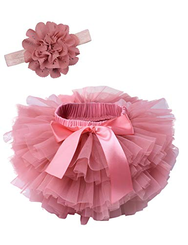 Tutu Bloomer - Baby Girls Ruffle Bottom Tutu Bloomers Toddler Tulle Diaper Cover Bloomer and Headband Set Coral 6-12 Months