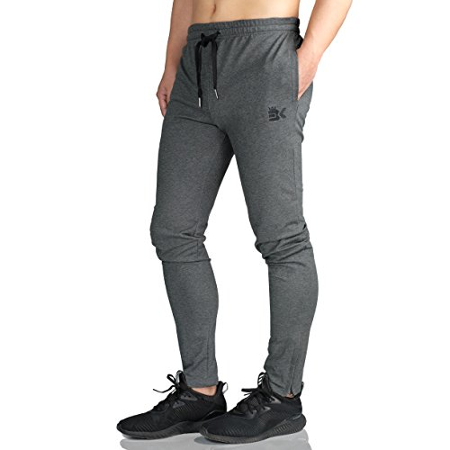 BROKIG Mens Zip Joggers Pants - Casual Gym Fitness Trousers Comfortable Tracksuit...
