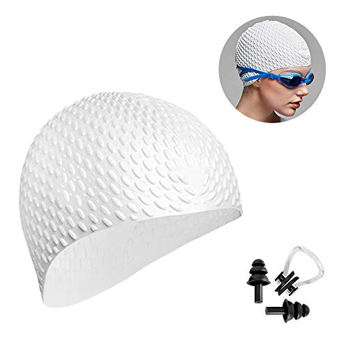 (Trevoz Swim Cap Women Silicone Swimming Cap for Long Hair Curly/Braids Hair Unisex Adult Kids Bathing Cap, Keep Hair Dry with Nose Clip and Ear Plugs (White))