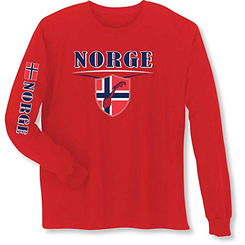 WHAT ON EARTH Unisex Adult International Long Sleeve T-Shirt- Norge (Norway) Red