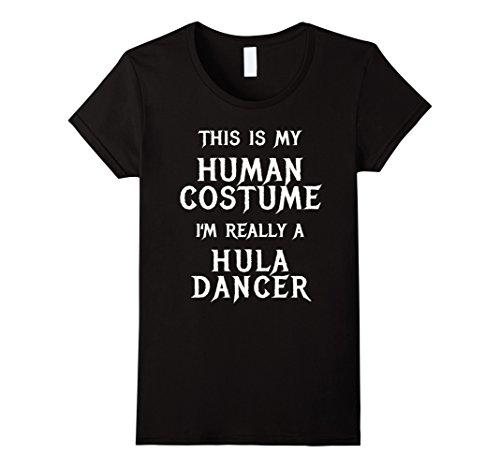 Womens I'm Really a Hula Dancer Halloween Shirt Funny Easy Costume XL Black