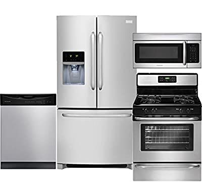 "Frigidaire 4-Piece Stainless Steel Kitchen Package with FFHB2740PS 36"" French Door Refrigerator, FFGF3053LS 30"" Gas Range, FFBD2411NS Full Console Dishwasher and FFMV164LS Over-The-Range Microwave"